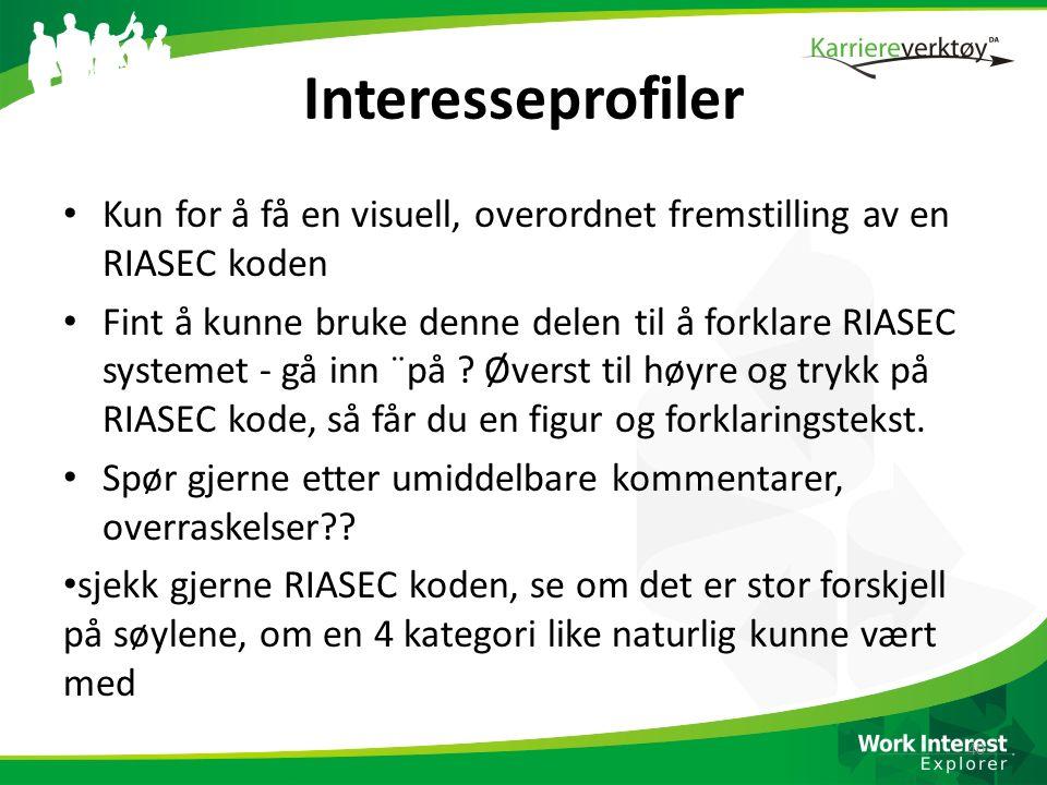 Interesseprofiler Kun for å få en visuell, overordnet fremstilling av en RIASEC koden Fint å kunne bruke denne delen til å forklare RIASEC systemet -