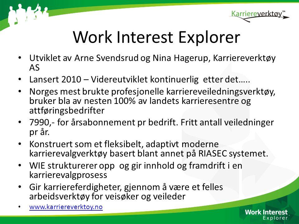 Work Interest Explorer Utviklet av Arne Svendsrud og Nina Hagerup, Karriereverktøy AS Lansert 2010 – Videreutviklet kontinuerlig etter det….. Norges m