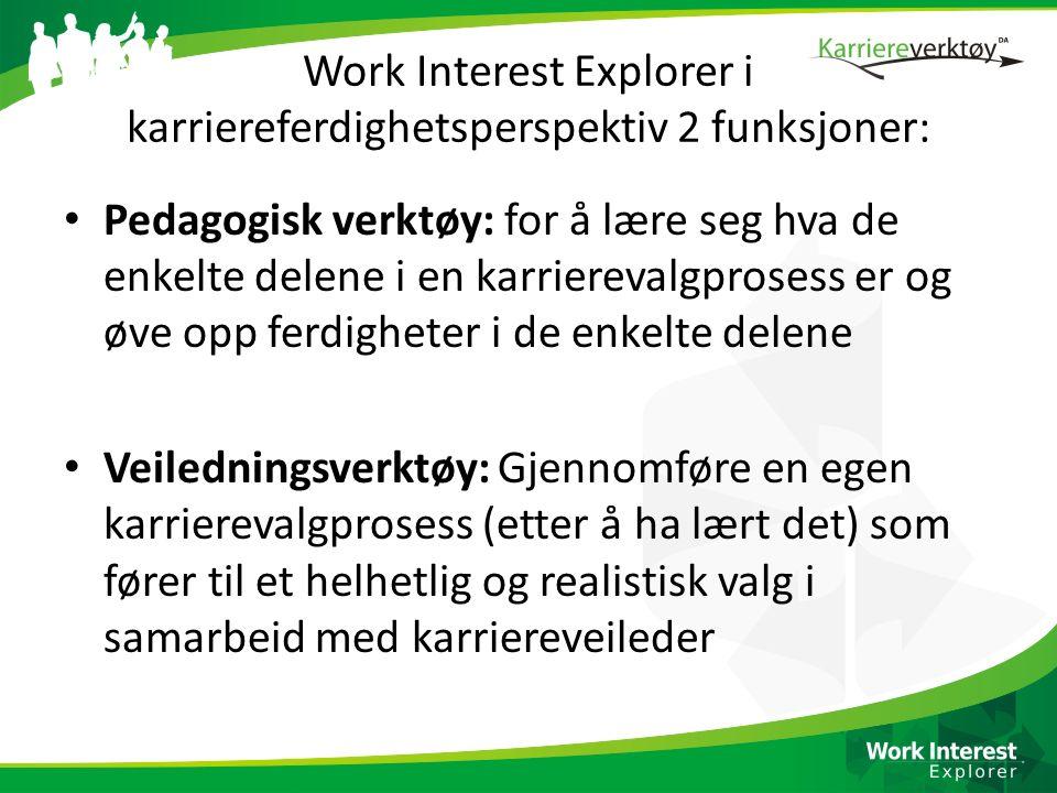 Work Interest Explorer i karriereferdighetsperspektiv 2 funksjoner: Pedagogisk verktøy: for å lære seg hva de enkelte delene i en karrierevalgprosess