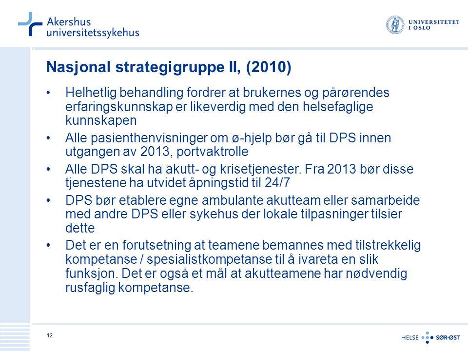 12 Nasjonal strategigruppe II, (2010) Helhetlig behandling fordrer at brukernes og pårørendes erfaringskunnskap er likeverdig med den helsefaglige kun