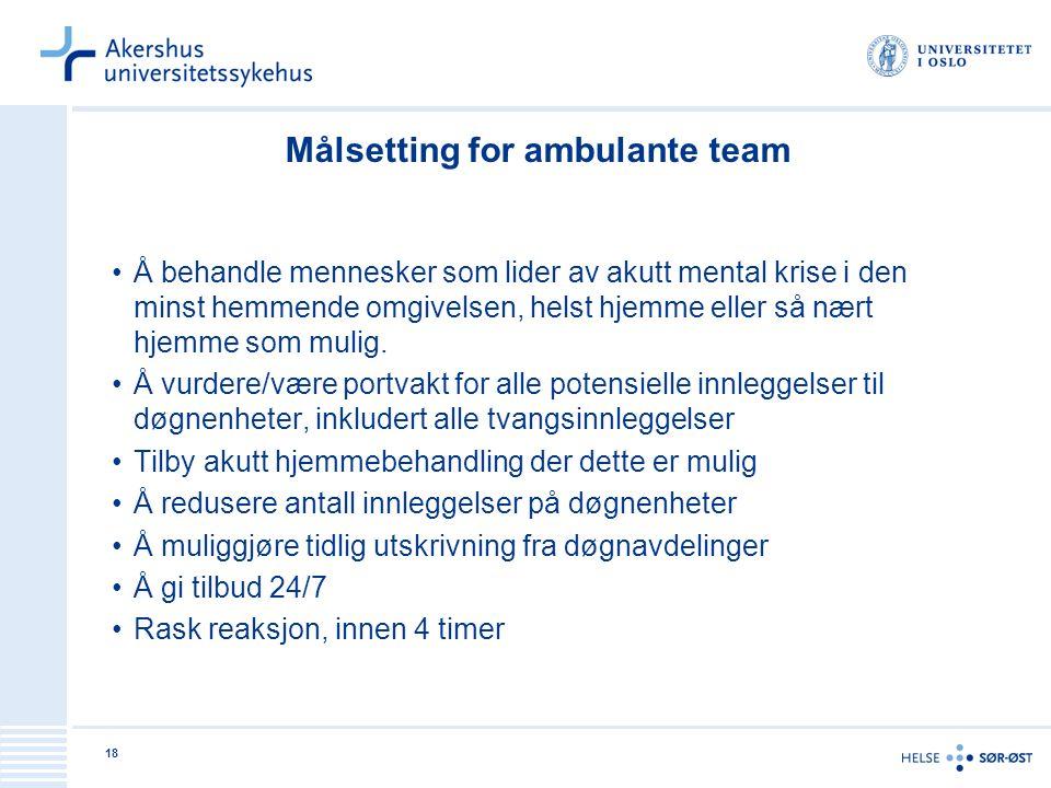 18 Målsetting for ambulante team Å behandle mennesker som lider av akutt mental krise i den minst hemmende omgivelsen, helst hjemme eller så nært hjem