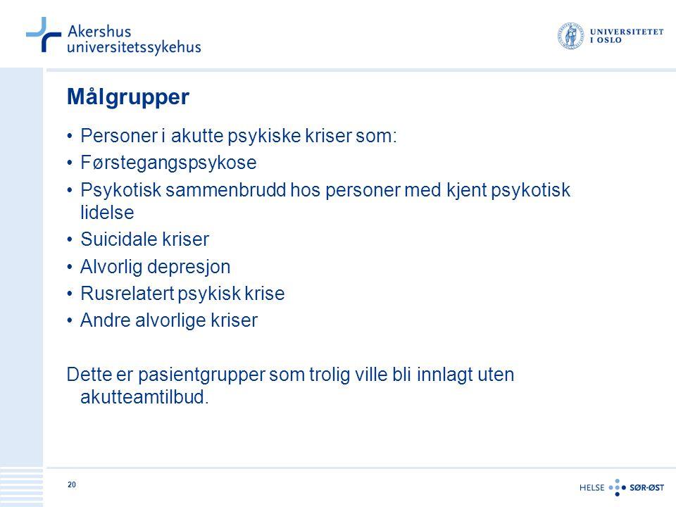 20 Målgrupper Personer i akutte psykiske kriser som: Førstegangspsykose Psykotisk sammenbrudd hos personer med kjent psykotisk lidelse Suicidale krise