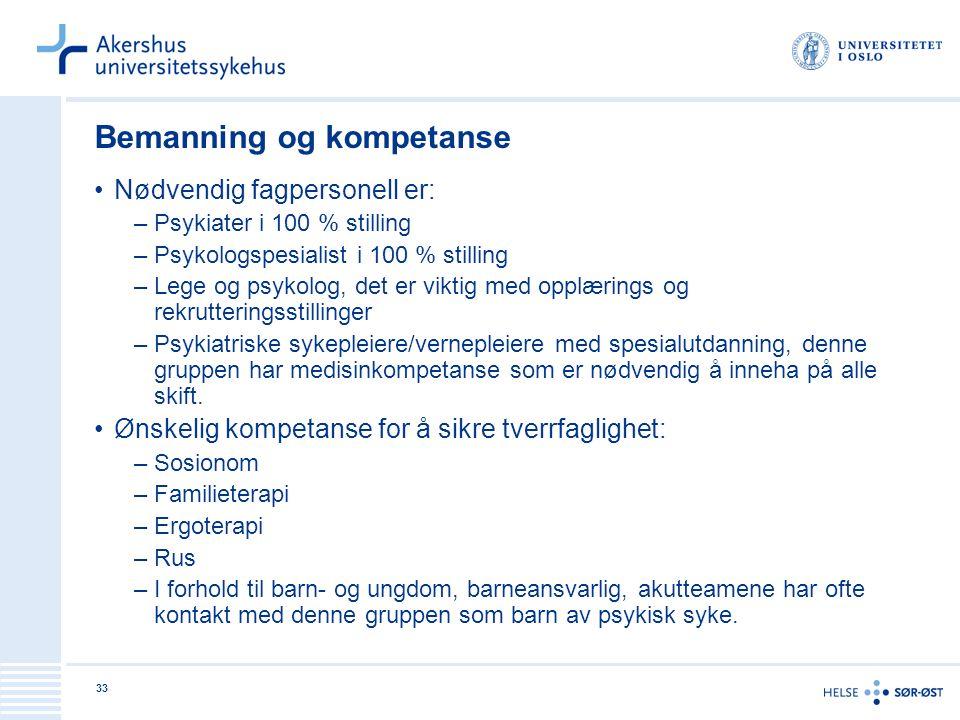 33 Bemanning og kompetanse Nødvendig fagpersonell er: –Psykiater i 100 % stilling –Psykologspesialist i 100 % stilling –Lege og psykolog, det er vikti