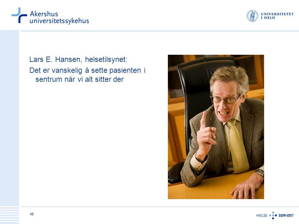 45 Lars E. Hansen, helsetilsynet: Det er vanskelig å sette pasienten i sentrum når vi alt sitter der