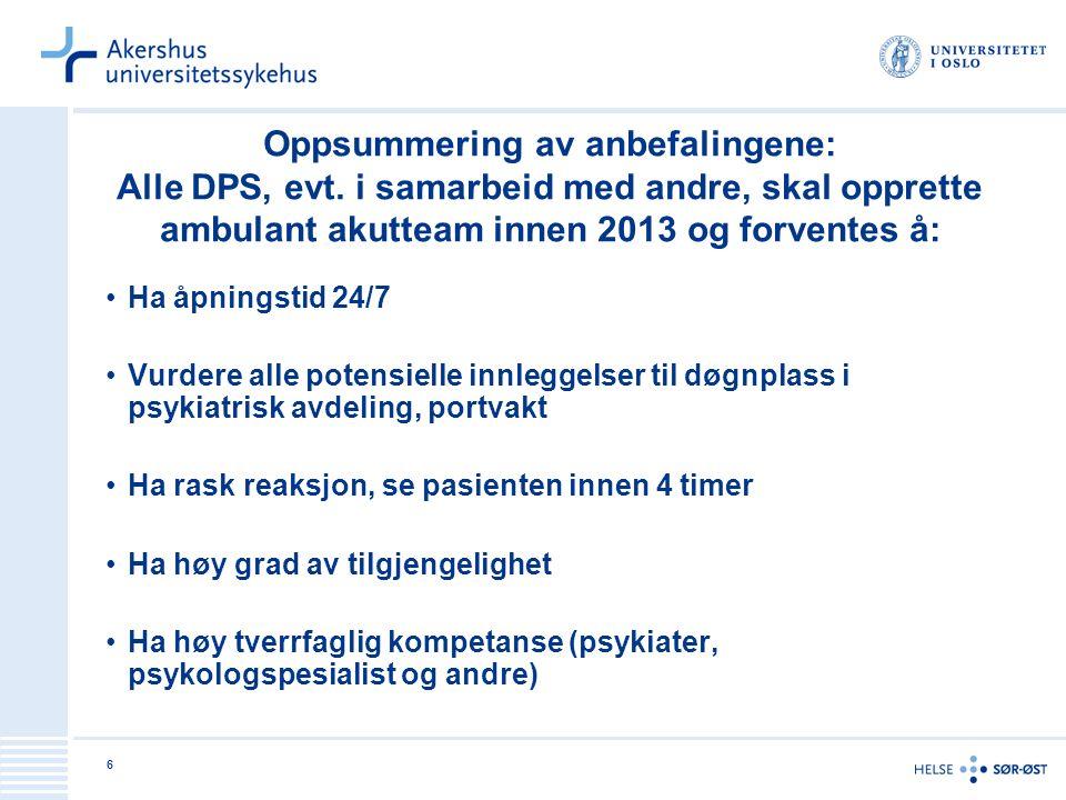 6 Oppsummering av anbefalingene: Alle DPS, evt. i samarbeid med andre, skal opprette ambulant akutteam innen 2013 og forventes å: Ha åpningstid 24/7 V