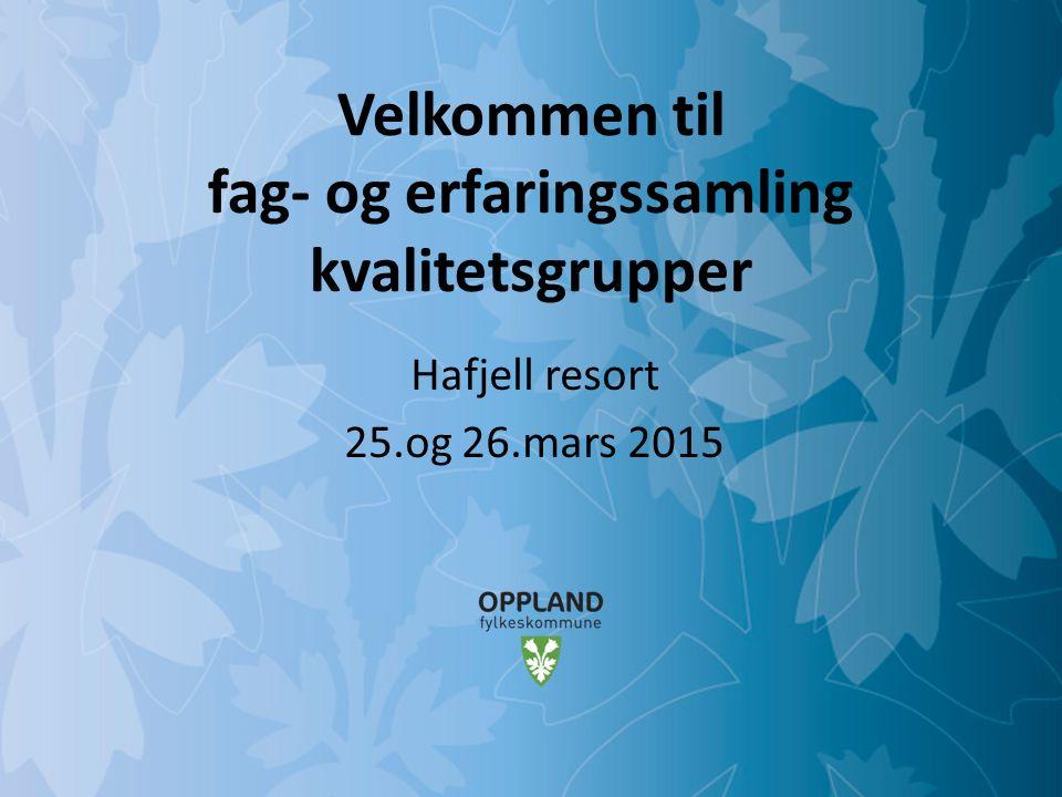Mulighetenes Oppland Velkommen til fag- og erfaringssamling kvalitetsgrupper Hafjell resort 25.og 26.mars 2015