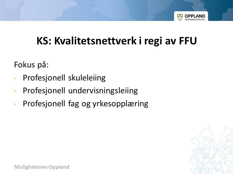 Mulighetenes Oppland KS: Kvalitetsnettverk i regi av FFU Fokus på: Profesjonell skuleleiing Profesjonell undervisningsleiing Profesjonell fag og yrkesopplæring