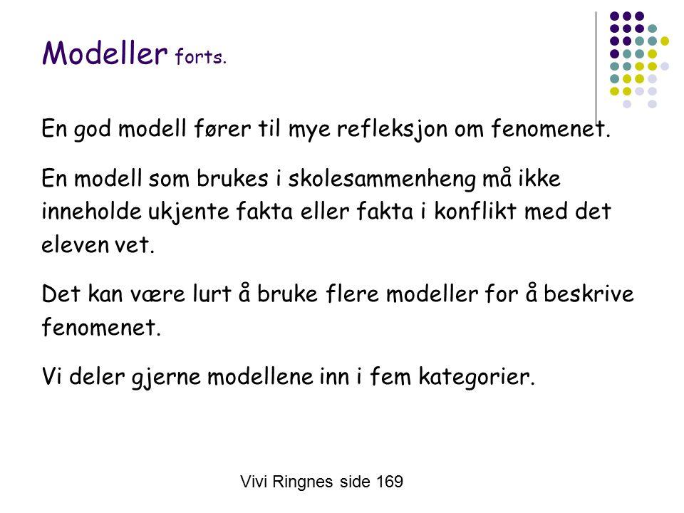 Vivi Ringnes side 169 Modeller forts. En god modell fører til mye refleksjon om fenomenet.