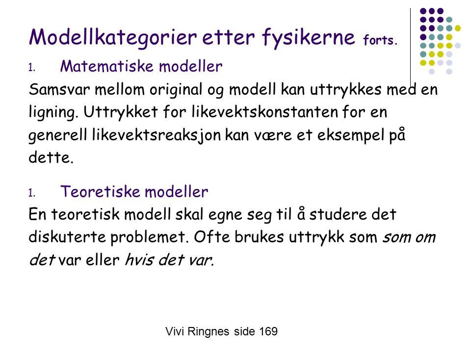 Vivi Ringnes side 169 Modellkategorier etter fysikerne forts.