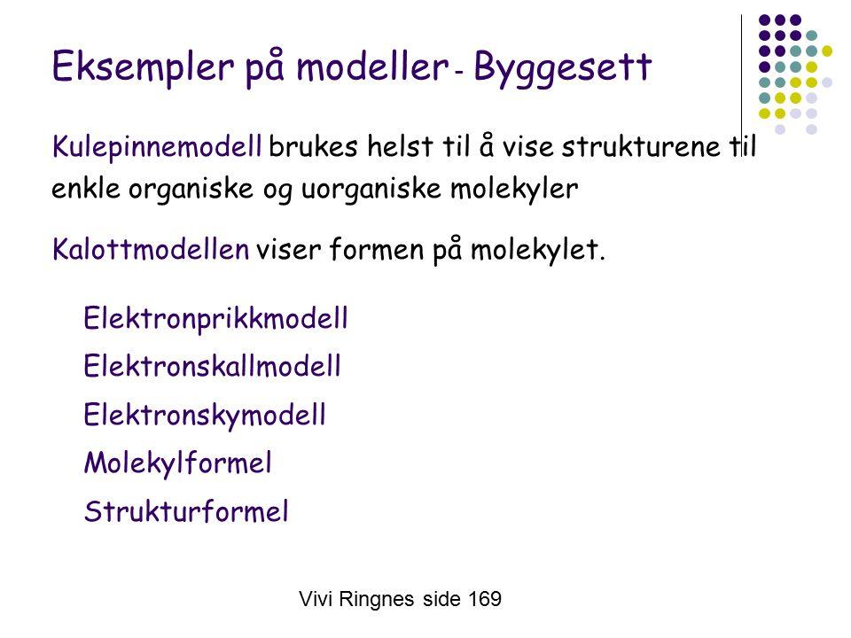 Vivi Ringnes side 169 Eksempler på modeller - Byggesett Kulepinnemodell brukes helst til å vise strukturene til enkle organiske og uorganiske molekyler Kalottmodellen viser formen på molekylet.