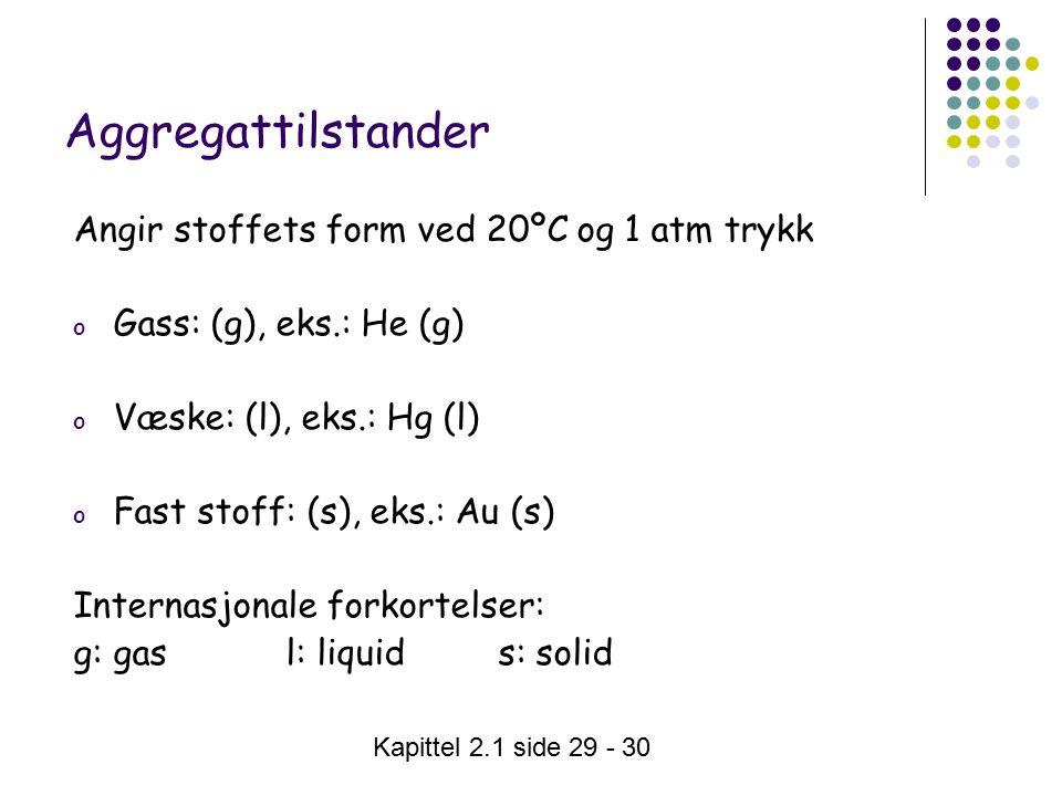 Kapittel 2.1 side 29 - 30 Aggregattilstander Angir stoffets form ved 20ºC og 1 atm trykk o Gass: (g), eks.: He (g) o Væske: (l), eks.: Hg (l) o Fast stoff: (s), eks.: Au (s) Internasjonale forkortelser: g: gas l: liquid s: solid