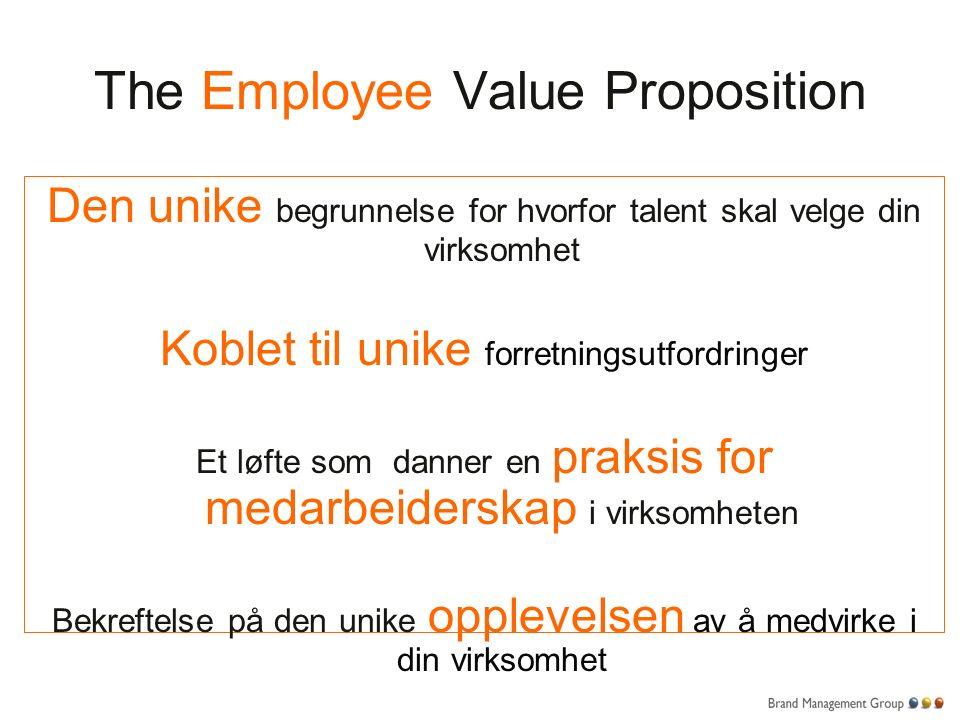 The Employee Value Proposition Den unike begrunnelse for hvorfor talent skal velge din virksomhet Koblet til unike forretningsutfordringer Et løfte som danner en praksis for medarbeiderskap i virksomheten Bekreftelse på den unike opplevelsen av å medvirke i din virksomhet