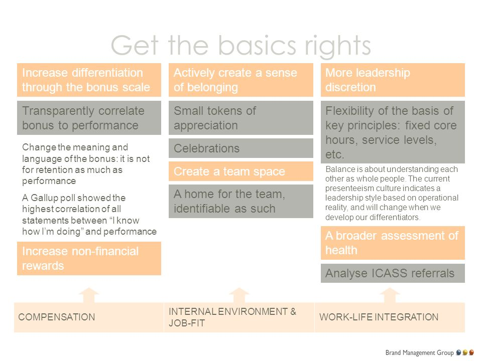 Get the basics rights Increase differentiation through the bonus scale Transparently correlate bonus to performance Increase non-financial rewards COMPENSATION INTERNAL ENVIRONMENT & JOB-FIT WORK-LIFE INTEGRATION Change the meaning and language of the bonus: it is not for retention as much as performance A Gallup poll showed the highest correlation of all statements between I know how I'm doing and performance Actively create a sense of belonging Small tokens of appreciation Celebrations Create a team space A home for the team, identifiable as such More leadership discretion Flexibility of the basis of key principles: fixed core hours, service levels, etc.