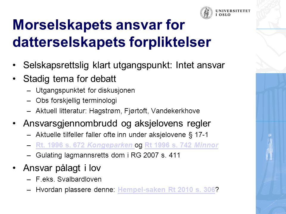 Morselskapets ansvar for datterselskapets forpliktelser Selskapsrettslig klart utgangspunkt: Intet ansvar Stadig tema for debatt –Utgangspunktet for d