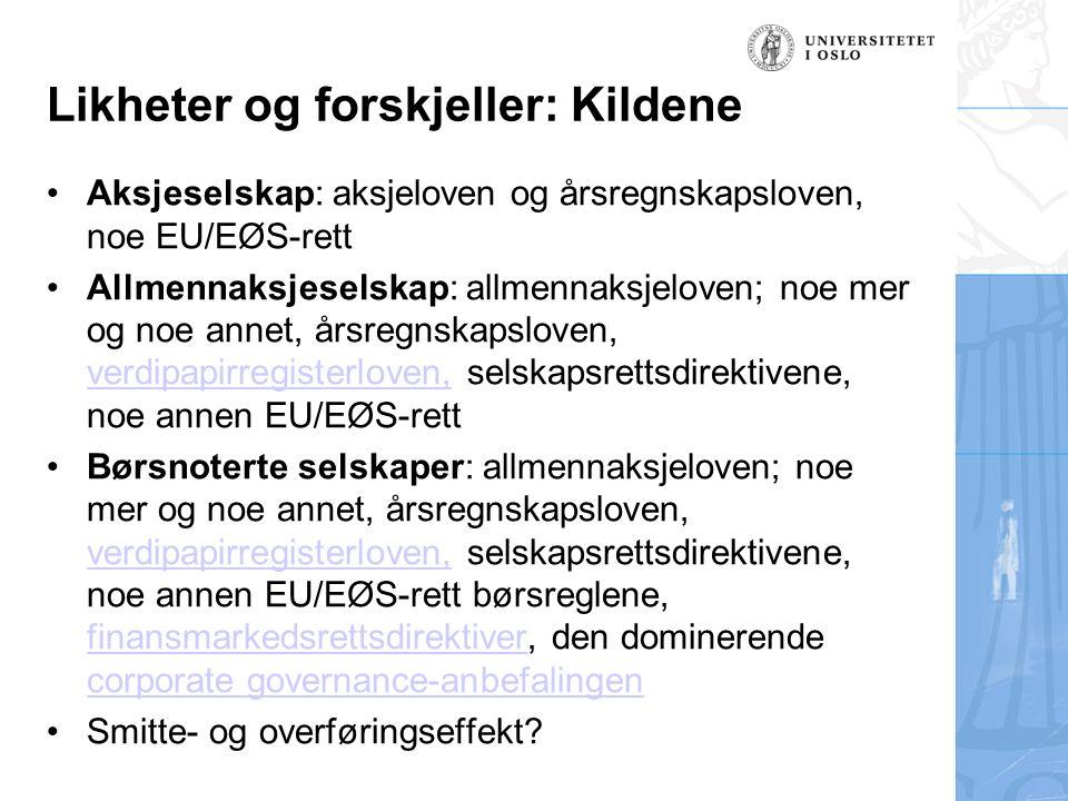 Likheter og forskjeller: Kildene Aksjeselskap: aksjeloven og årsregnskapsloven, noe EU/EØS-rett Allmennaksjeselskap: allmennaksjeloven; noe mer og noe
