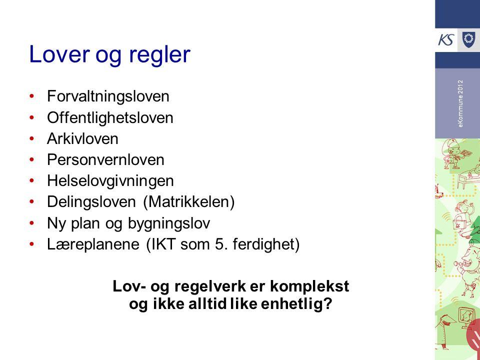 eKommune 2012 Lover og regler Forvaltningsloven Offentlighetsloven Arkivloven Personvernloven Helselovgivningen Delingsloven (Matrikkelen) Ny plan og