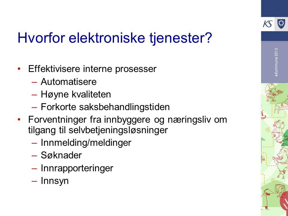 eKommune 2012 Hvorfor elektroniske tjenester? Effektivisere interne prosesser –Automatisere –Høyne kvaliteten –Forkorte saksbehandlingstiden Forventni