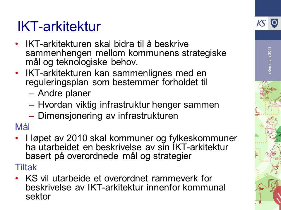 eKommune 2012 IKT-arkitektur IKT-arkitekturen skal bidra til å beskrive sammenhengen mellom kommunens strategiske mål og teknologiske behov. IKT-arkit