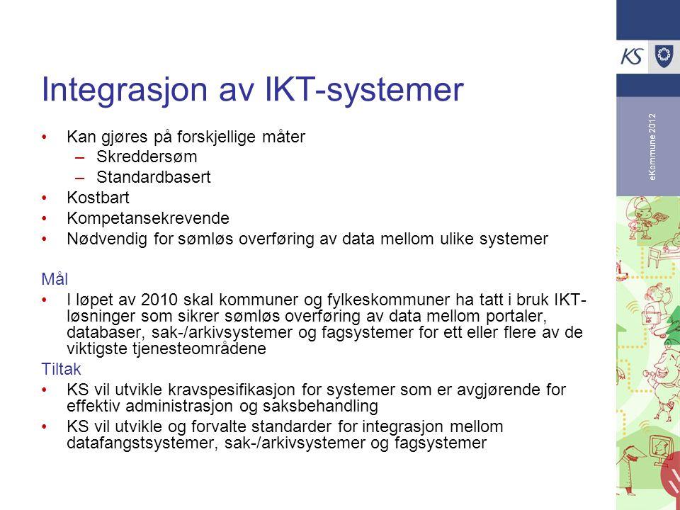eKommune 2012 Integrasjon av IKT-systemer Kan gjøres på forskjellige måter –Skreddersøm –Standardbasert Kostbart Kompetansekrevende Nødvendig for søml