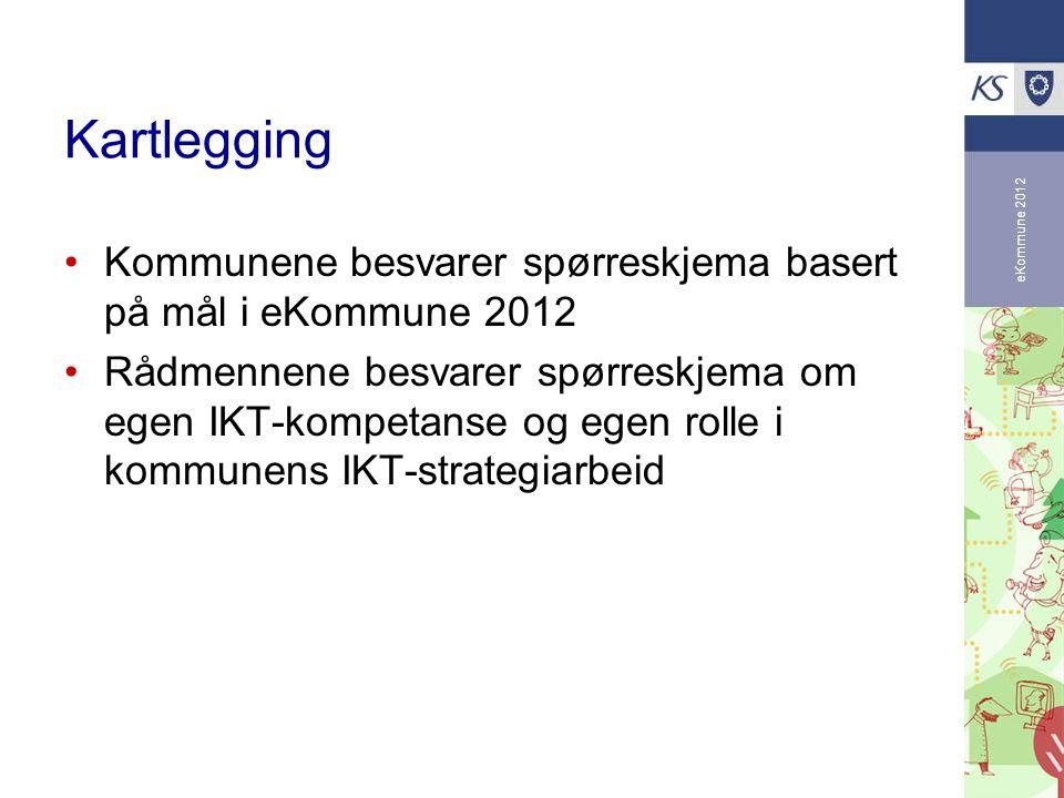 eKommune 2012 Kartlegging Kommunene besvarer spørreskjema basert på mål i eKommune 2012 Rådmennene besvarer spørreskjema om egen IKT-kompetanse og ege