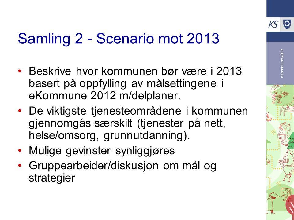 eKommune 2012 Samling 2 - Scenario mot 2013 Beskrive hvor kommunen bør være i 2013 basert på oppfylling av målsettingene i eKommune 2012 m/delplaner.