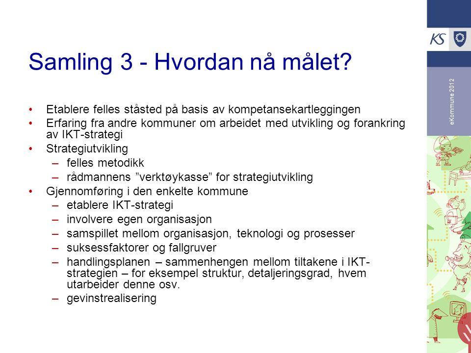 eKommune 2012 Samling 3 - Hvordan nå målet? Etablere felles ståsted på basis av kompetansekartleggingen Erfaring fra andre kommuner om arbeidet med ut