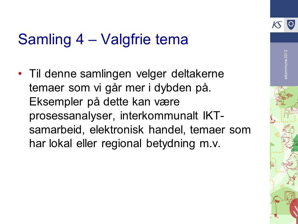 eKommune 2012 Samling 4 – Valgfrie tema Til denne samlingen velger deltakerne temaer som vi går mer i dybden på.