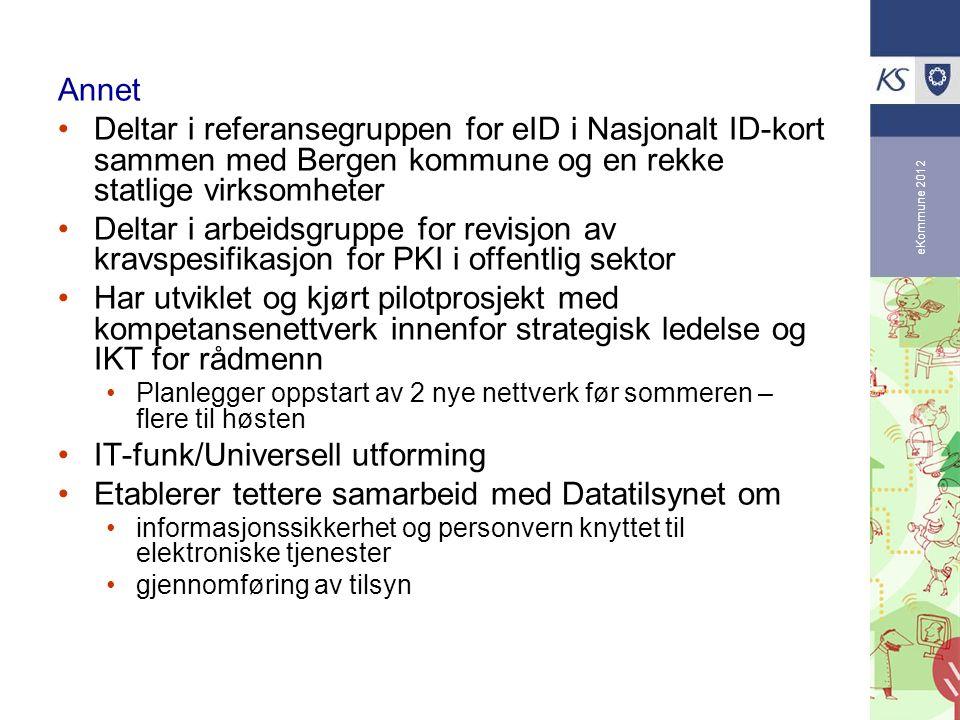 eKommune 2012 Annet Deltar i referansegruppen for eID i Nasjonalt ID-kort sammen med Bergen kommune og en rekke statlige virksomheter Deltar i arbeids