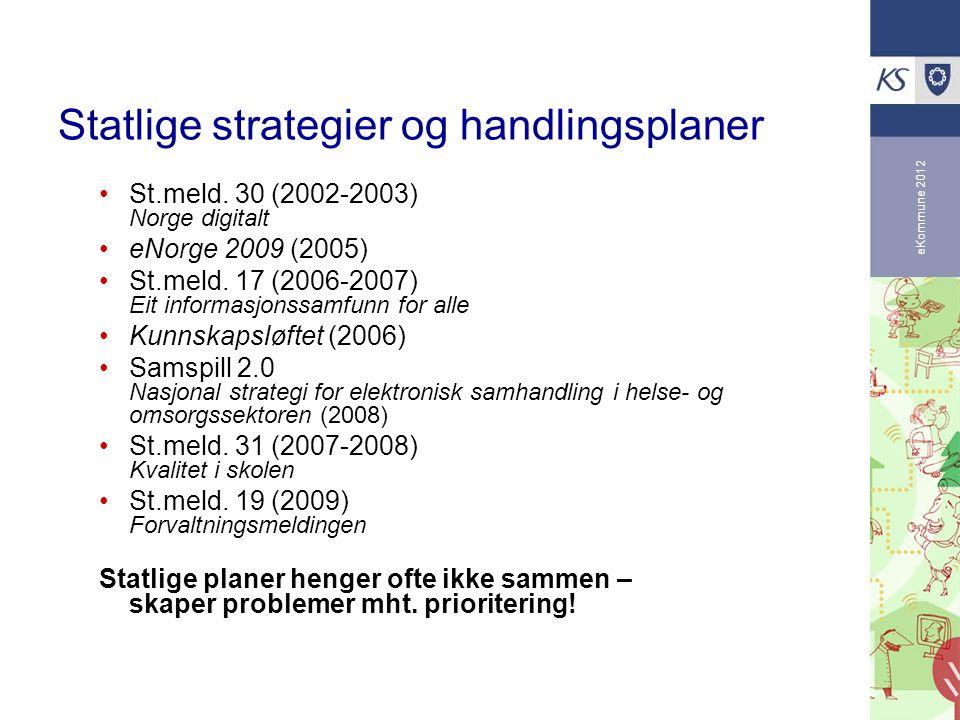 eKommune 2012 Statlige strategier og handlingsplaner St.meld. 30 (2002-2003) Norge digitalt eNorge 2009 (2005) St.meld. 17 (2006-2007) Eit informasjon