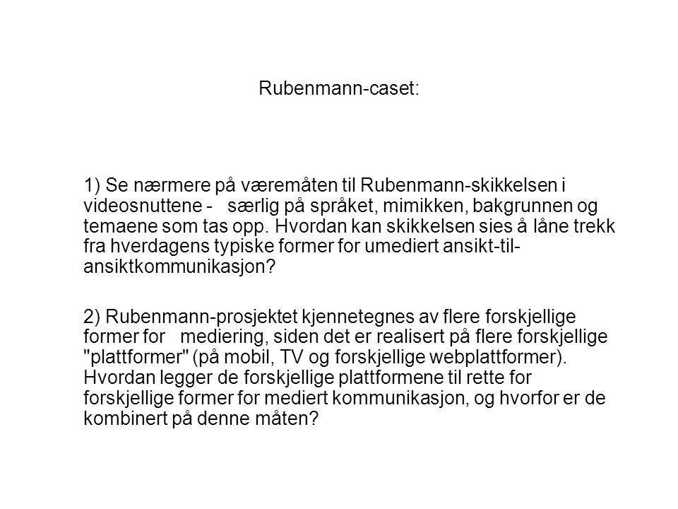Rubenmann-caset: 1) Se nærmere på væremåten til Rubenmann-skikkelsen i videosnuttene - særlig på språket, mimikken, bakgrunnen og temaene som tas opp.