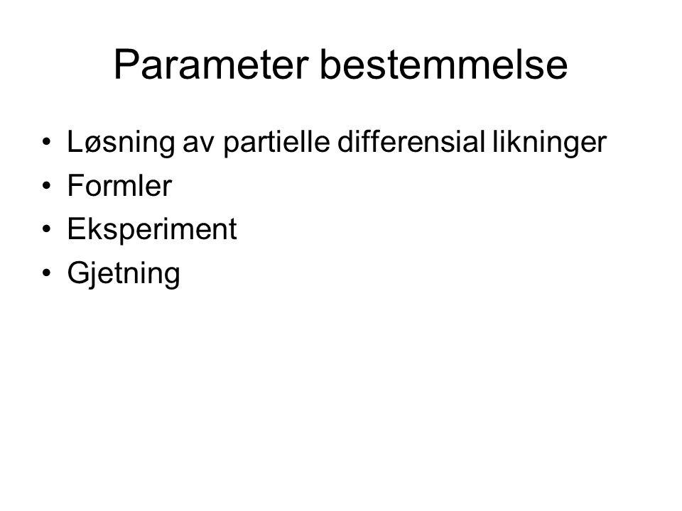 Parameter bestemmelse Løsning av partielle differensial likninger Formler Eksperiment Gjetning