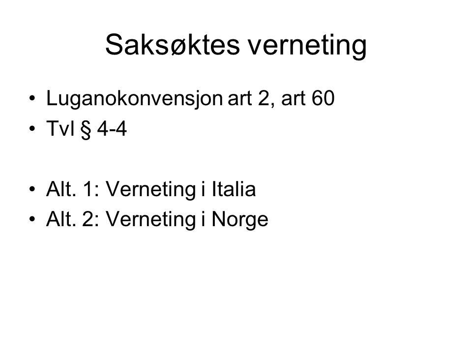 Saksøktes verneting Luganokonvensjon art 2, art 60 Tvl § 4-4 Alt. 1: Verneting i Italia Alt. 2: Verneting i Norge