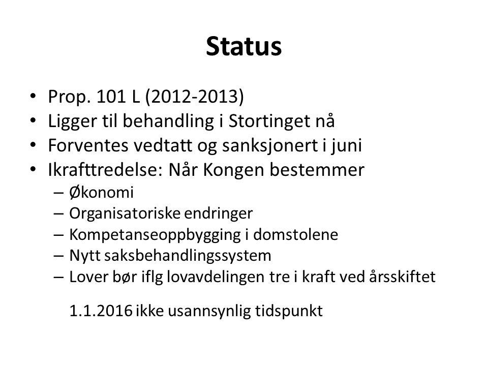 Status Prop. 101 L (2012-2013) Ligger til behandling i Stortinget nå Forventes vedtatt og sanksjonert i juni Ikrafttredelse: Når Kongen bestemmer – Øk