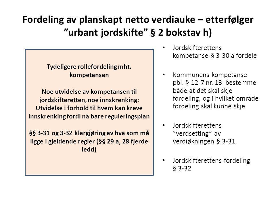 """Fordeling av planskapt netto verdiauke – etterfølger """"urbant jordskifte"""" § 2 bokstav h) Jordskifterettens kompetanse § 3-30 å fordele Kommunens kompet"""