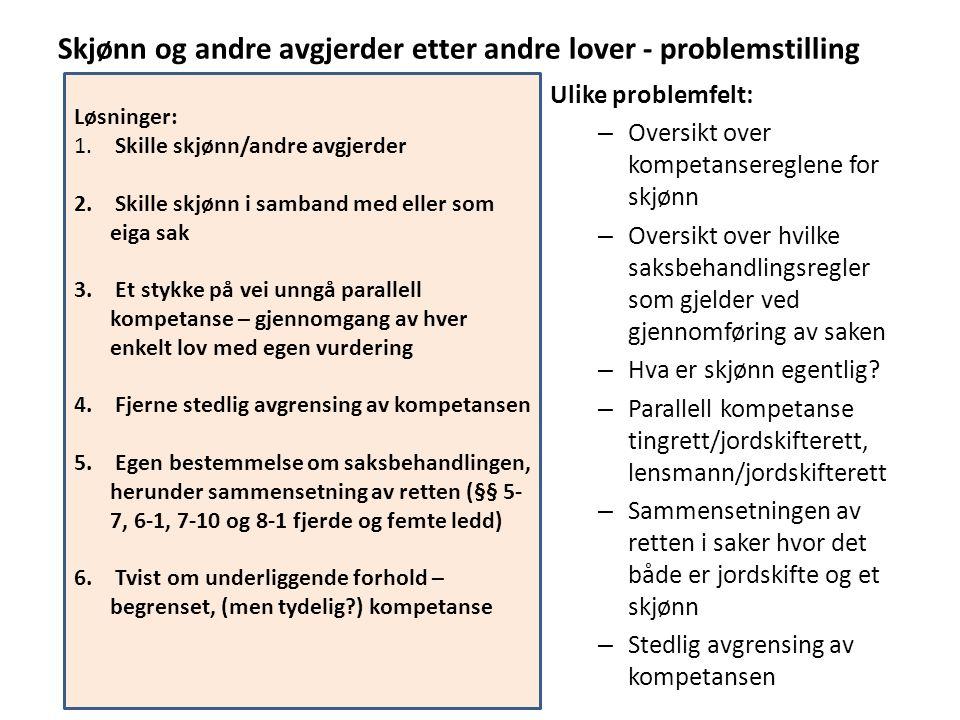 Skjønn og andre avgjerder etter andre lover - problemstilling Ulike problemfelt: – Oversikt over kompetansereglene for skjønn – Oversikt over hvilke s