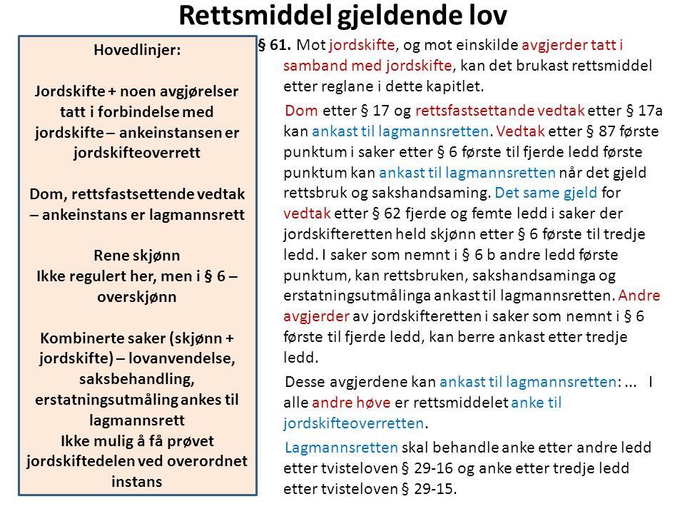 Rettsmiddel gjeldende lov § 61. Mot jordskifte, og mot einskilde avgjerder tatt i samband med jordskifte, kan det brukast rettsmiddel etter reglane i