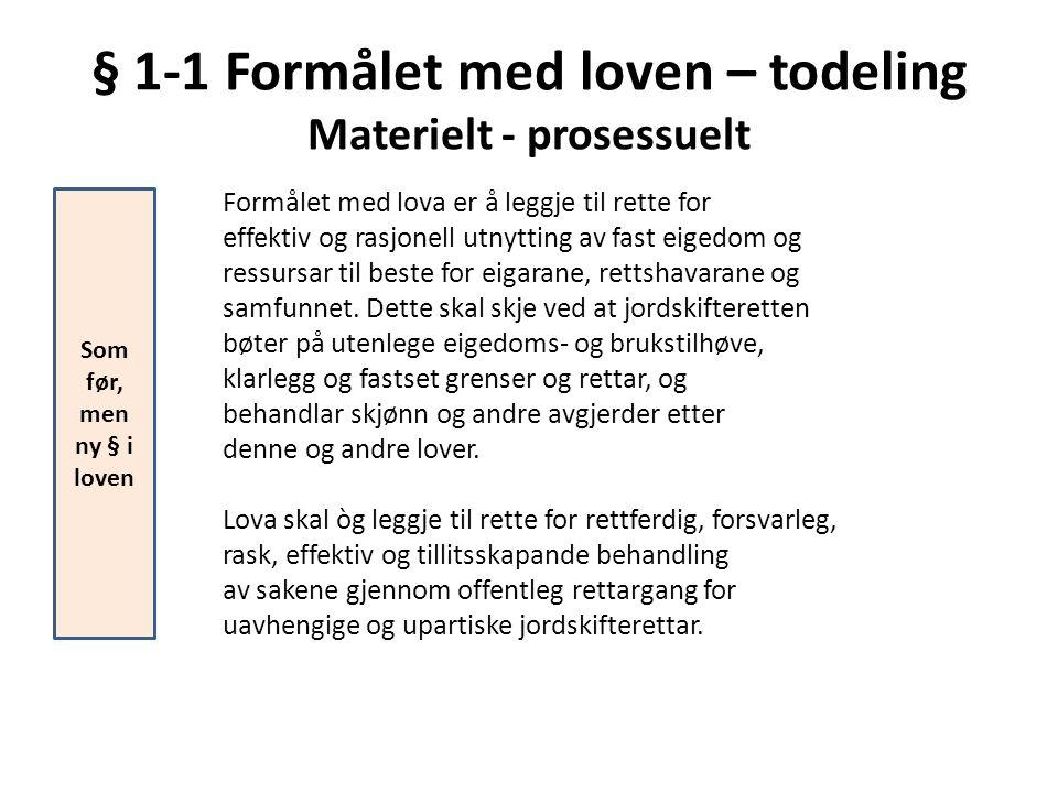 § 1-1 Formålet med loven – todeling Materielt - prosessuelt Formålet med lova er å leggje til rette for effektiv og rasjonell utnytting av fast eigedo