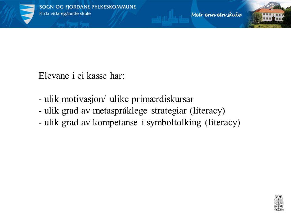 Elevane i ei kasse har: - ulik motivasjon/ ulike primærdiskursar - ulik grad av metaspråklege strategiar (literacy) - ulik grad av kompetanse i symboltolking (literacy)