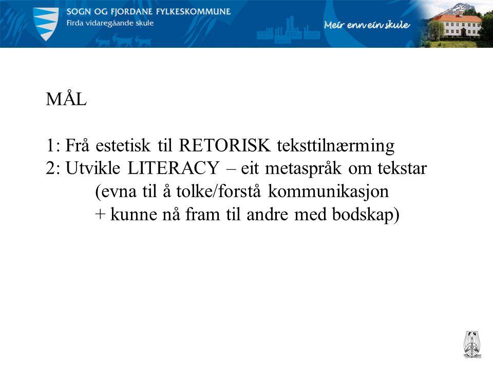 MÅL 1: Frå estetisk til RETORISK teksttilnærming 2: Utvikle LITERACY – eit metaspråk om tekstar (evna til å tolke/forstå kommunikasjon + kunne nå fram til andre med bodskap)