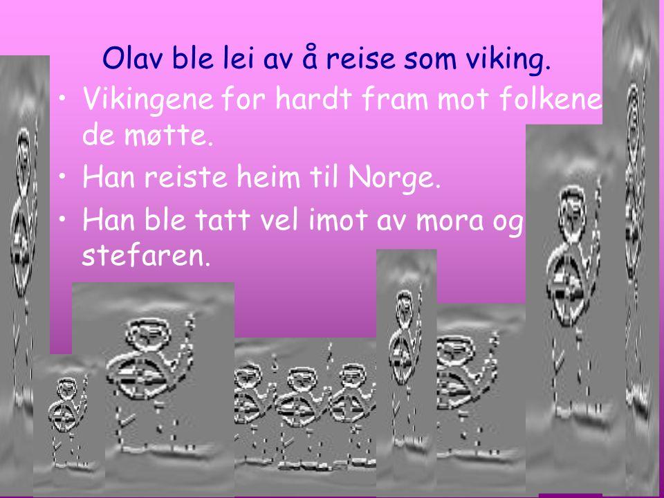 Olav ble lei av å reise som viking. Vikingene for hardt fram mot folkene de møtte. Han reiste heim til Norge. Han ble tatt vel imot av mora og stefare