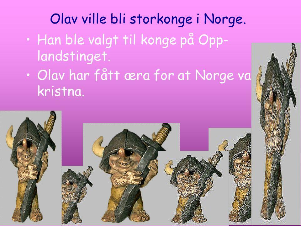 Olav ville bli storkonge i Norge. Han ble valgt til konge på Opp- landstinget. Olav har fått æra for at Norge vart kristna.