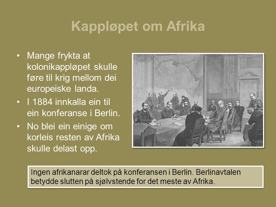 Kappløpet om Afrika Mange frykta at kolonikappløpet skulle føre til krig mellom dei europeiske landa.