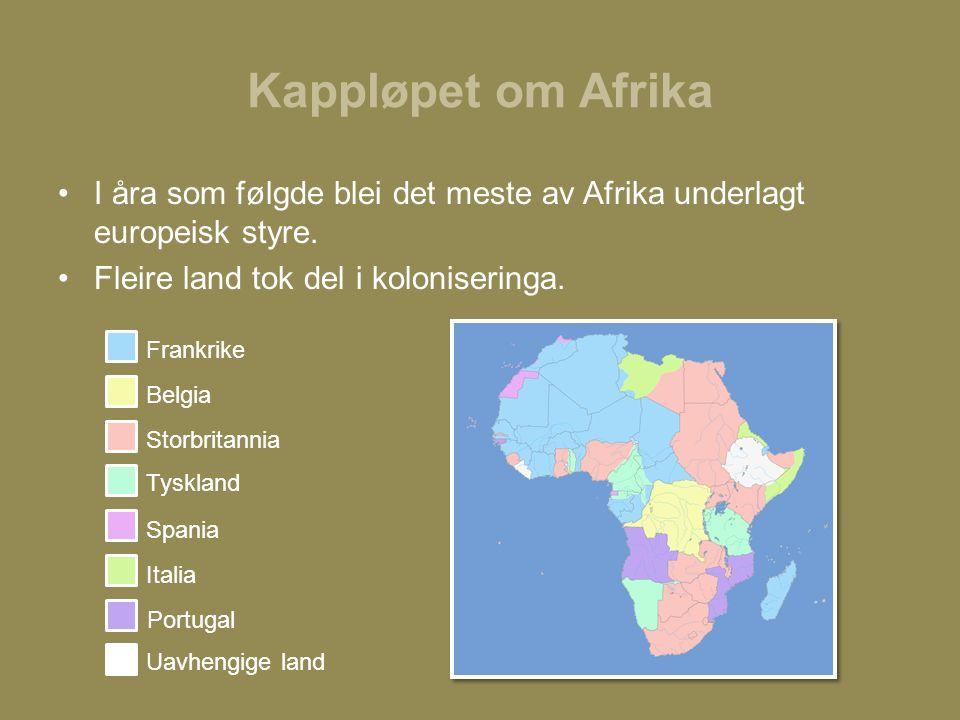 Kappløpet om Afrika I åra som følgde blei det meste av Afrika underlagt europeisk styre.