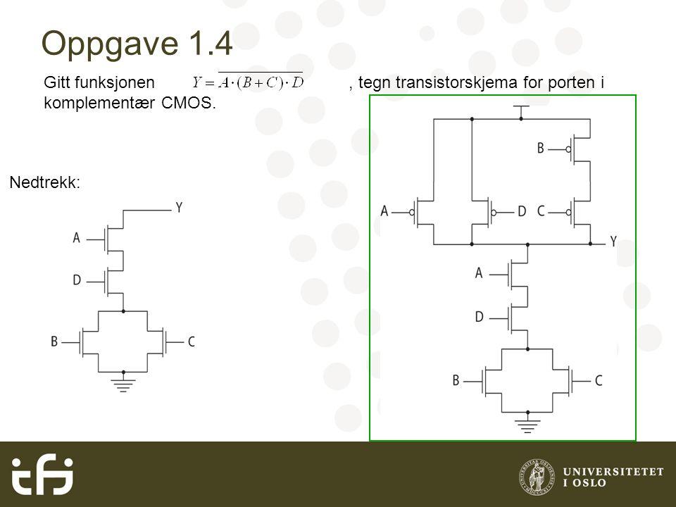 Oppgave 1.4 Gitt funksjonen, tegn transistorskjema for porten i komplementær CMOS. Nedtrekk: