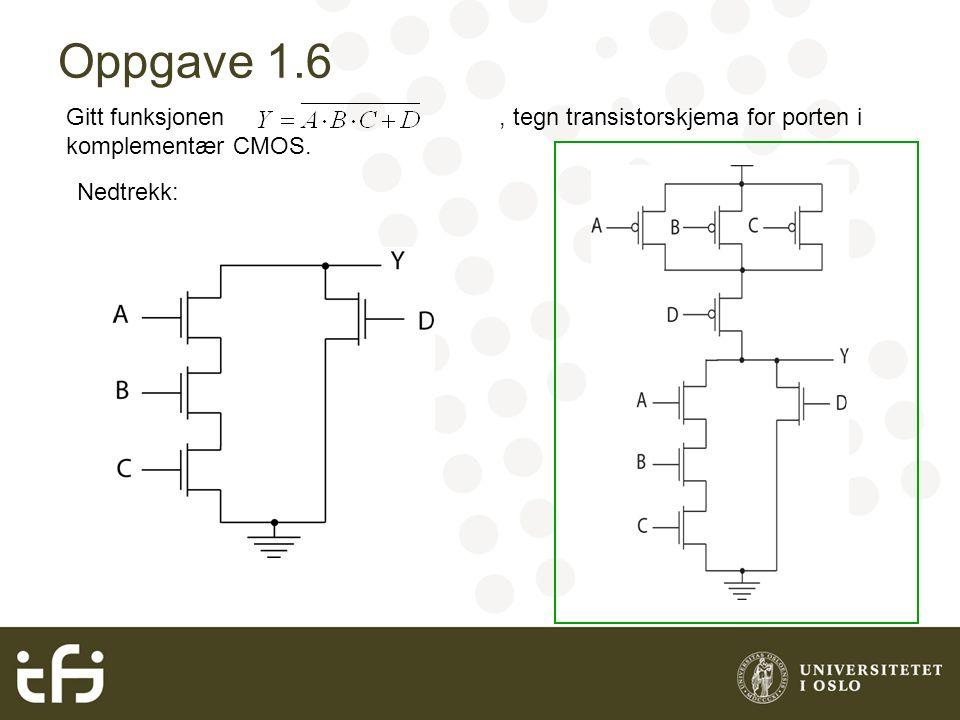 Oppgave 1.6 Gitt funksjonen, tegn transistorskjema for porten i komplementær CMOS. Nedtrekk: