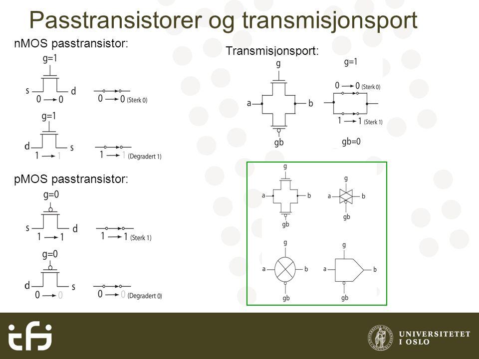 Passtransistorer og transmisjonsport nMOS passtransistor: pMOS passtransistor: Transmisjonsport: