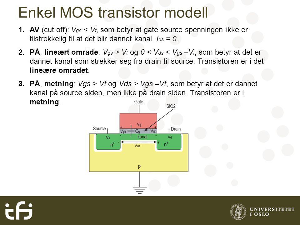 Enkel MOS transistor modell 1.AV (cut off): V gs < V t, som betyr at gate source spenningen ikke er tilstrekkelig til at det blir dannet kanal. I ds =