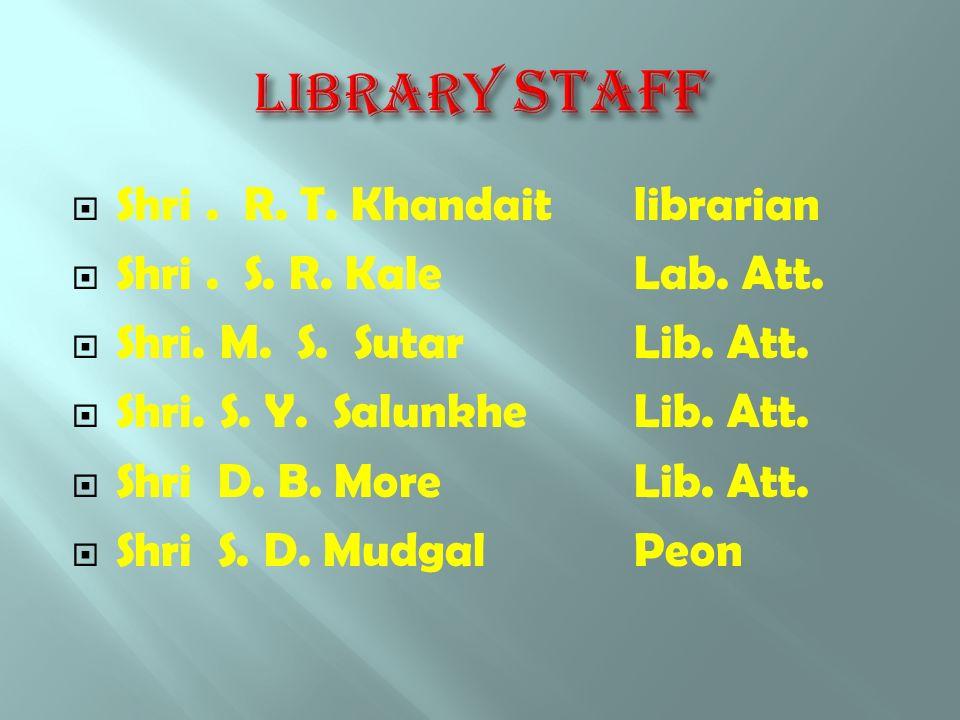  Shri. R. T. Khandait librarian  Shri. S. R. KaleLab. Att.  Shri. M. S. SutarLib. Att.  Shri. S. Y. Salunkhe Lib. Att.  Shri D. B. MoreLib. Att.