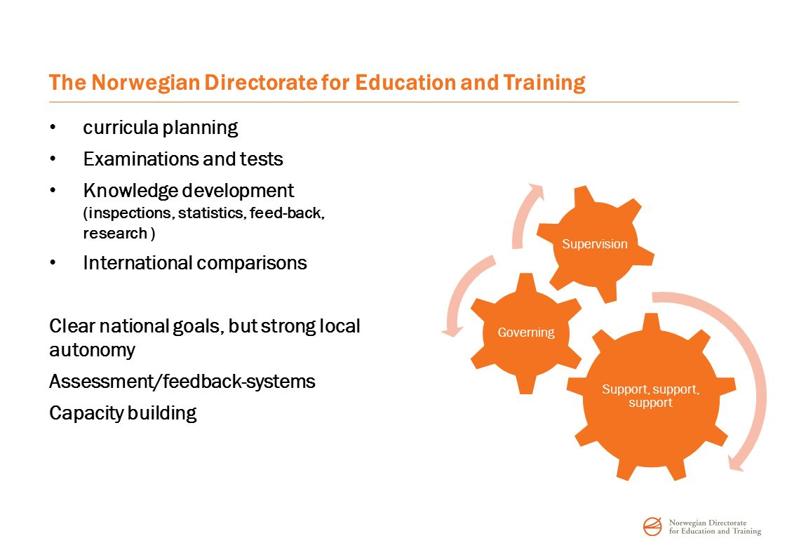 The Norwegian Directorate for Education and Training curricula planning Examinations and tests Knowledge development (inspections, statistics, feed-back, research ) International comparisons Clear national goals, but strong local autonomy Assessment/feedback-systems Capacity building Support, support, support Governing Supervision