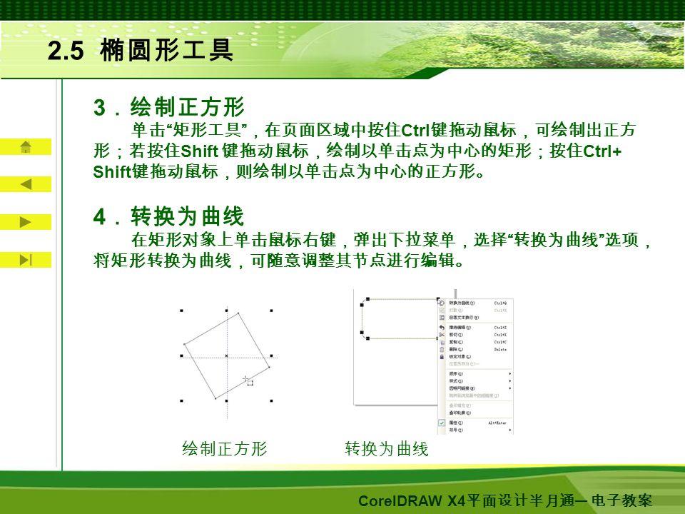 CorelDRAW X4 平面设计半月通 ─ 电子教案 2.5 椭圆形工具 3 .绘制正方形 单击 矩形工具 ,在页面区域中按住 Ctrl 键拖动鼠标,可绘制出正方 形;若按住 Shift 键拖动鼠标,绘制以单击点为中心的矩形;按住 Ctrl+ Shift 键拖动鼠标,则绘制以单击点为中心的正方形。 4 .转换为曲线 在矩形对象上单击鼠标右键,弹出下拉菜单,选择 转换为曲线 选项, 将矩形转换为曲线,可随意调整其节点进行编辑。 绘制正方形 转换为曲线
